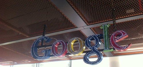 Google logo above reception